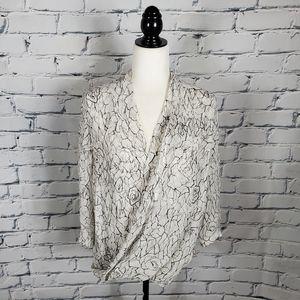 Babaton White and Black Print Silk Drape Blouse